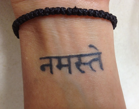 Sanskrit Namaste Tattoo on wrist