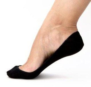 No Seam Black Women's Ped Socks