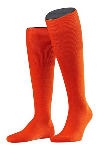 Orange Knee High Socks with Wool