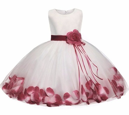 c854cbcda5e69 One of the latest trends in baby frocks is the petal dress. This party wear  frock for 1 year baby girl is made of net material that is stitched like a  ...