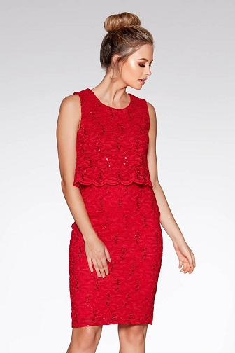 f27ef58eba0be Try this red dress with sequin work on it. There is a beautiful red sequin  dress made on lace fabric. This is a very nice design as a womens Christmas  ...