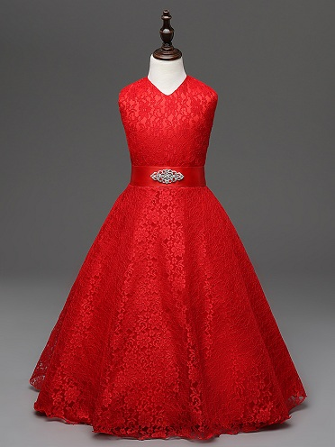 eba34d61 This stunning 13 year girl dress is perfect for a birthday celebration or  for a function. The lace dress in red color is eye catching and brings  grandeur to ...