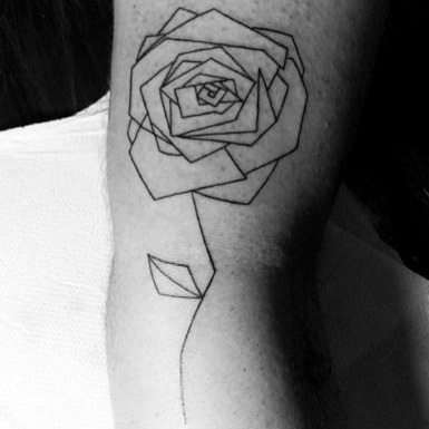 Rose Geometric Tattoo Design