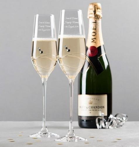 Swarovski Crystal Studded Wine Glass Couple Set