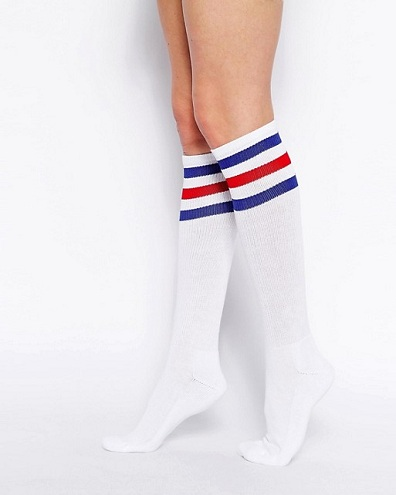 Striped White Knee High Socks