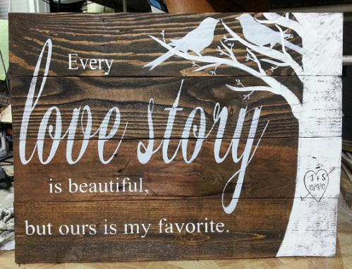 Wooden Sign Valentine's Gift