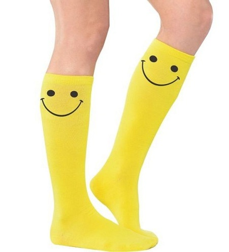 Yellow Knee High Socks with Smiley