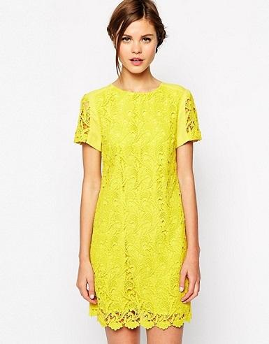 Yellow Print Short Sleeve Shift Dress