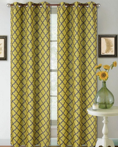 This Set Of Yellow Grey Curtains Is Geometric Print Blackout Window Drapes Room Darkening Curtain Has White Foam Backing Makes It Energy Efficient By