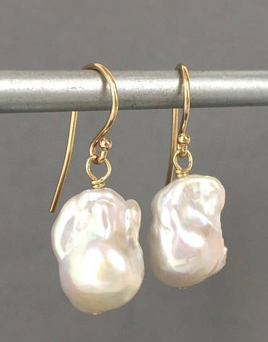 14 Karat Baroque Pearl Earrings
