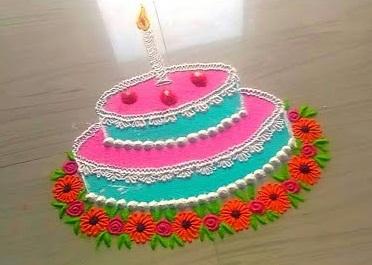 Baby Girl Pink Coloured Birthday Rangoli