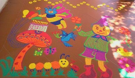 Beautiful Kids Birthday Rangoli Design