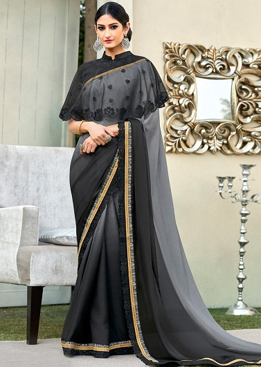 60b8b6fba917d8 20 Latest Black Sarees Collection For Stylish Women | Styles At Life
