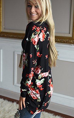 Black Chiffon Cardigan Floral Print