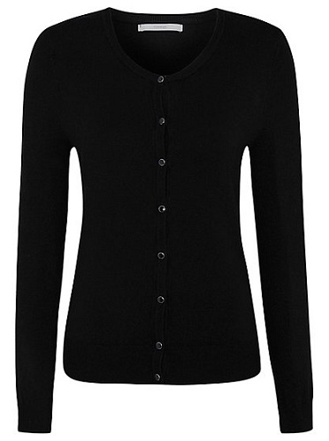 Black Crew Neck Cardigan Sweater