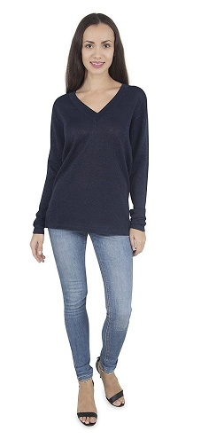Black Viscose Casual Pullover