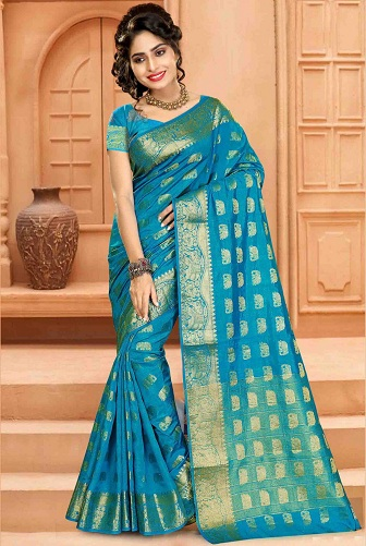 feb59f725129f Blue pattu sarees are most preferred for occasions like weddings