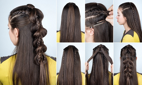 Modern Braid Hairstyle with Loose Hair
