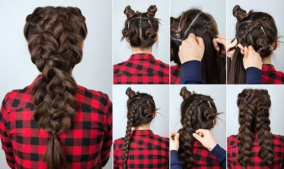 48. Crisscross Volume Braid for Long Hair
