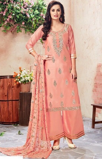6ba69648c9 Check out this soothing peach and gold Chanderi kameez with Palazzo pants.  The Kurta is embellished with beautiful gold thread and sequin work around  the ...