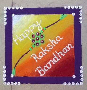 Colourful Raksha bandhan Rangoli