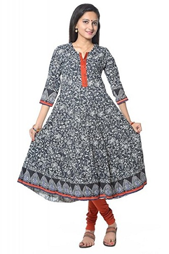 b2b34030562e It is cotton frock suit with black printed flare kurti and plain red  leggings. The kurti frock is in half sleeve with small print.