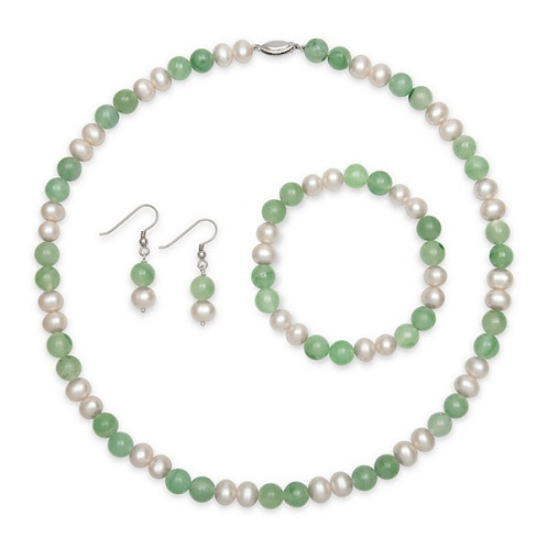 Cultured Green Freshwater Pearls Set
