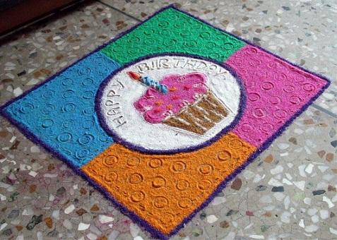 Cupcake Rangoli for Birthday