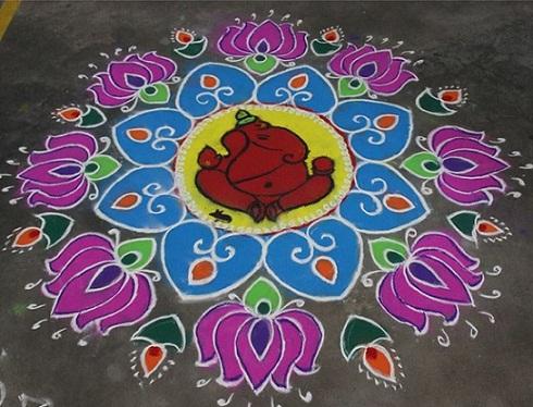Dotted Rangoli Design for Ugadi