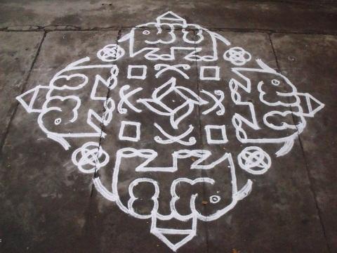 Elephant Design Rangoli