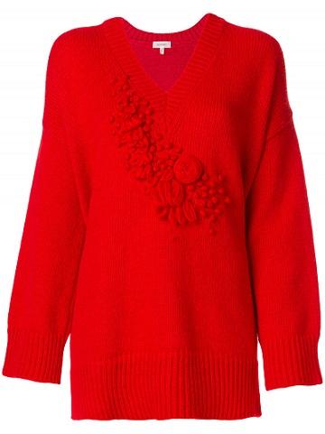 Embroidered V Neck Sweater
