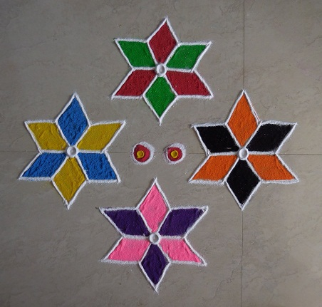 Rangoli Designs With 6 Dots