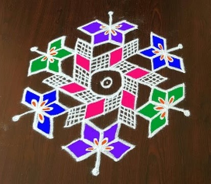 Flower Kolam with 11 Dots
