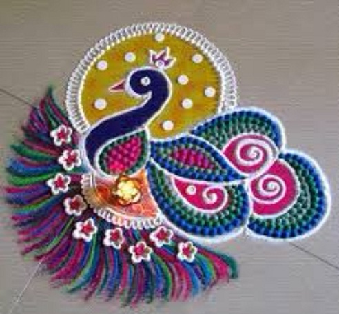 Peacock Rangoli Design for ugadi