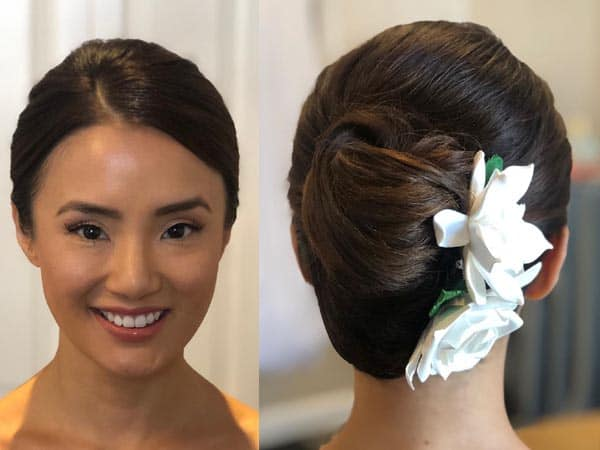 French Twist with Flowers and Long Hair