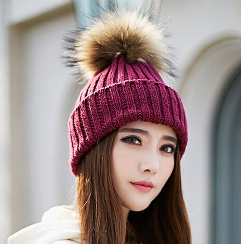 Fur Knitted Beanie Hats