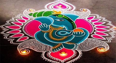 Ganesha Rangoli Design for Ugadi