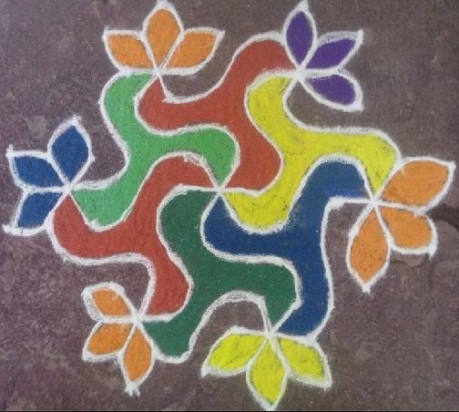 Geometric Floral Rangoli