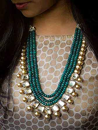 Gold Over Green Pearl Necklace