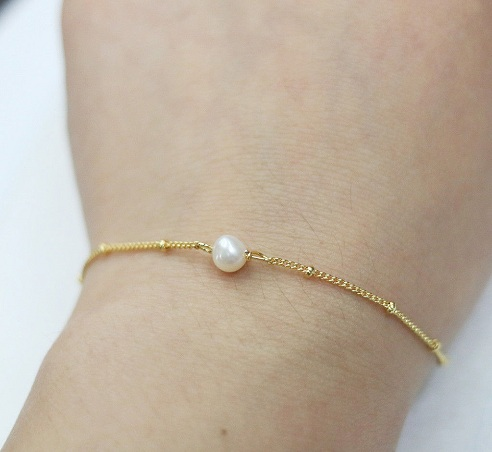 Gold Pearl Thin Bracelet