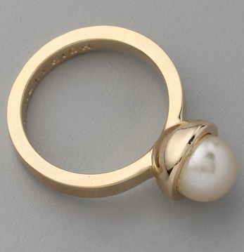 Gold Single Pearl Ring