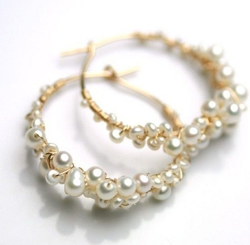 Gold Small Pearls Attached Hoop Earring
