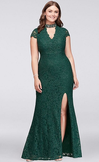 d3b22cadfb1 Another gorgeous plus size party dress to add to your wardrobe and look stunning  in the parties you go to. The short cap sleeves and the slit in the dress  ...