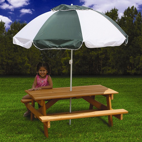 Green and White Garden Table Umbrellas