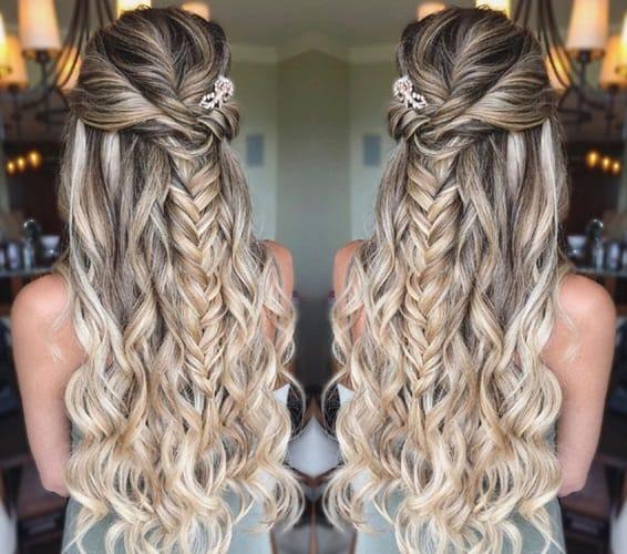 Half-up Fishtail Blonde Hairstyles