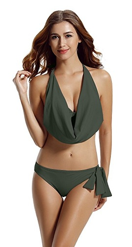 Halter Cowl Neck Bikini Swimsuits