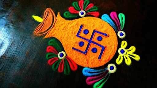 Kalash Rangoli Design with Diya