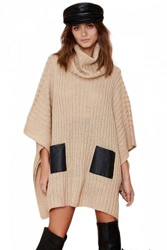 Khaki Cowl Neck Sweater