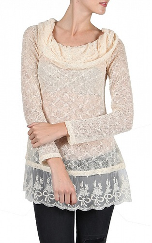 Lace Cowl Neck Sweater