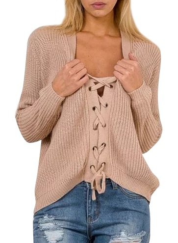 Lace-up Style Women's Sweater